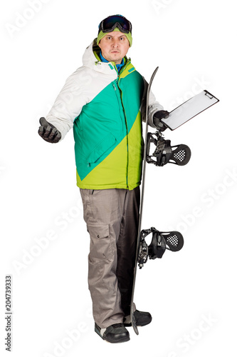 Poster Wintersporten Full length portrait of young man in sportswear with snowboard isolated on a white background. Sport and people concept.