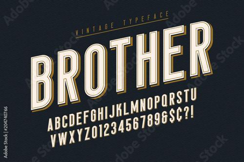 Photo Trendy vintage display font design, alphabet, typeface