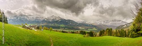 Foto op Canvas Bleke violet Spring Alpine Landscape