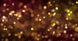 christmas digital glitter sparks golden particles bokeh flowing on gold background, holiday xmas festive happy new year event