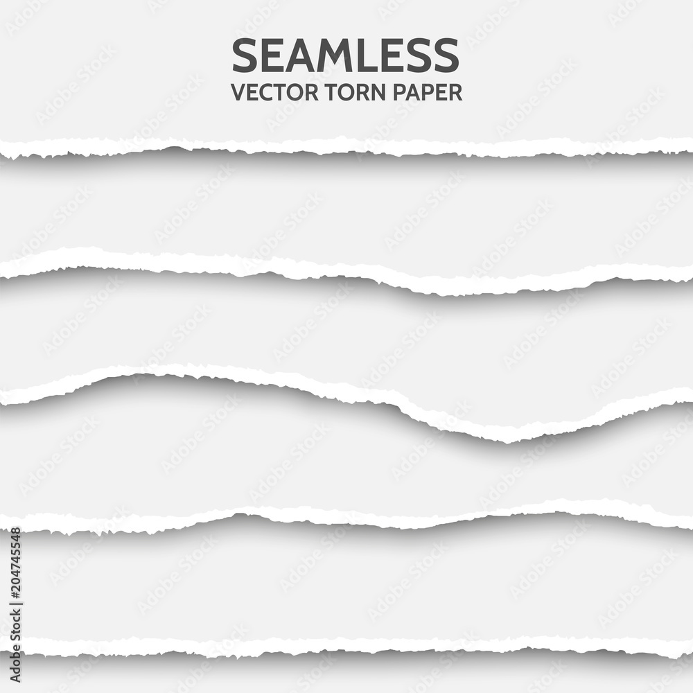 Fototapety, obrazy: Vector seamless torn paper set on gray background.