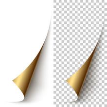 Vector Golden Foil Vertical Paper Corner Rolled Up