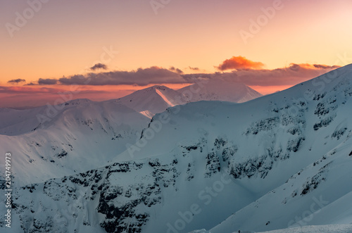 Fotografía  Beautiful mountain sunset panorama, Tatra mountains Poland