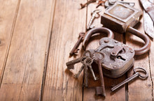 Old Rusty Locks And Keys