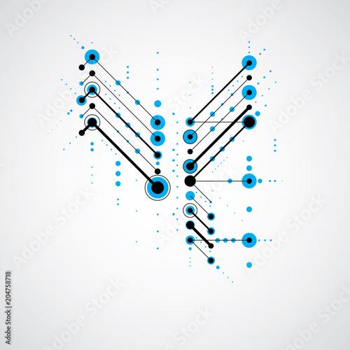 Bauhaus retro wallpaper, art vector blue background made using grid and circles Canvas Print