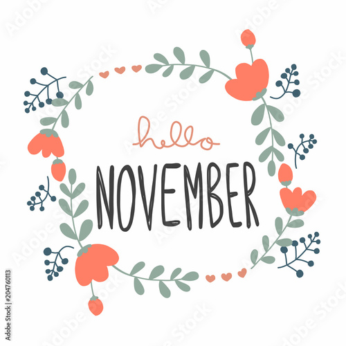 hello november cute flower wreath vector illustration doodle style