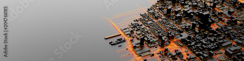Fototapeta Techno mega city; urban and futuristic technology concepts, original 3d rendering obraz