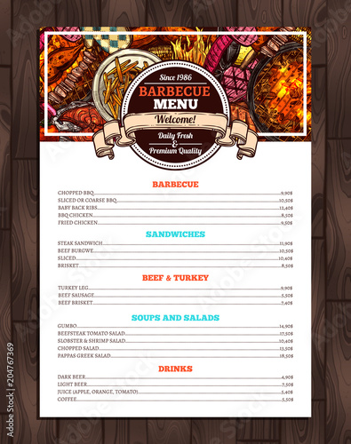 Barbecue Restaurant Menu Template Design Of Bbq Brochure