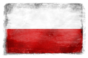 White and red flag of Poland destroyed and stained during fights - without subtitles