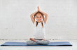 canvas print picture - child girl doing yoga and gymnastics in gym