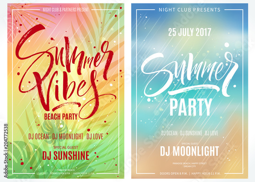 Summer party posters. Hand written lettering with exotic palm leaves and plants background. Brush painted letters, modern calligraphy, vector illustration