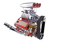 Hot Rod Engine Isolated. 3D Re...