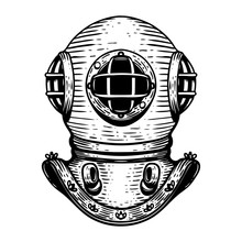 Hand Drawn Retro Style Diver Helmet Illustration On White Background. Design Elements For Logo, Label, Emblem, Sign, Badge.
