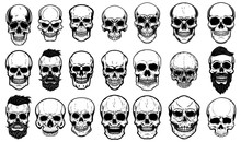 Set Of Human Skull Illustrations On White Background. Design Element For Label, Emblem, Sign,logo, Poster.