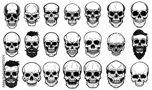 Fotografía  Set of human skull illustrations on white background