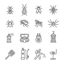 Pest Control, Extermination: Thin Vector Icon Set, Black And White Kit