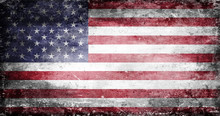 US Flag With Traces Of Use In Battle And Destruction From Difficult Warfare