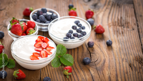 Healthy breakfast fresh yogurt with berry fruits