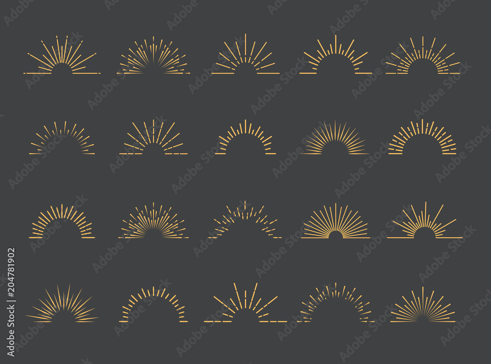 Fototapety, obrazy: Vector sunburst set gold style isolated on gray background for emblem, logo, tag, stamp, t shirt, banner. 10 eps