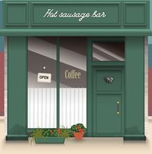 Cafe Bar Facade. Stylish Street Shop Exterior Design. Flat Style Vector Illustration.