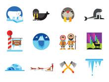 North Pole Icon Set. Polar Bea...