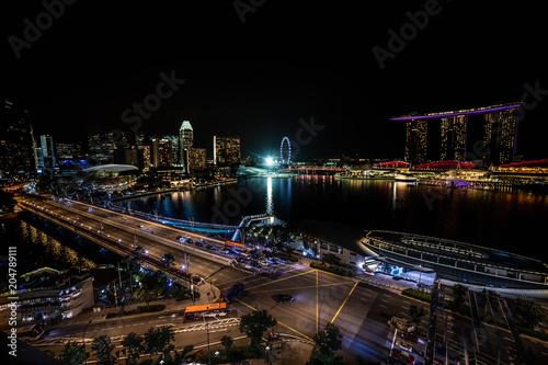 Staande foto Aziatische Plekken Aerial Night Panoramic View of Singapore City