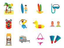 Sea Vacation Icon Set. Caravan...