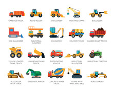Set Of 22 Flat Vector Icons Representing Special And Industrial Vehicles Concepts