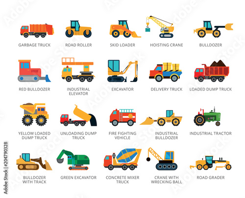 Fototapeta Set of 22 flat vector icons representing special and industrial vehicles concept