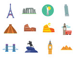 Fototapeta Fototapety z wieżą Eiffla - Tourist attraction icons set. Thirteen vector icons of Eiffel Tower, Big Ben, Pyramids and other tourist attractions