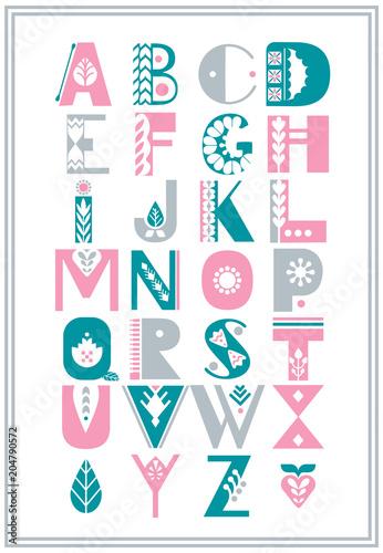 obraz PCV Vector folk alphabet decorated with nordic folk ornaments. Display font.