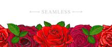 Red Roses Border Seamless Patt...