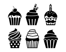 Black Isolated Cupcakes Icons ...