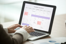 Businesswoman Planning Day Using Digital Planner Or Calendar Software Application On Laptop Screen, Employee Making Event Schedule With Personal Organizer, Time Management Concept, Close Up View