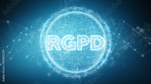 Poster Vissen Digital GDPR interface 3D rendering