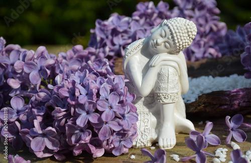 Deurstickers Boeddha Buddha und Flieder