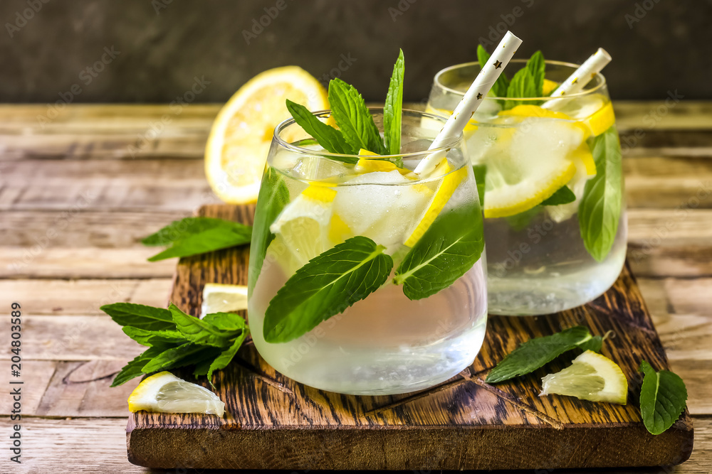 Fototapeta Detox water with lemon and mint.
