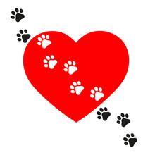 Illustration Of Dog Tracks On ...