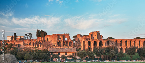 Rome, Domus Severiana and Temple of Apollo Palatine seen from the Circus Maximus