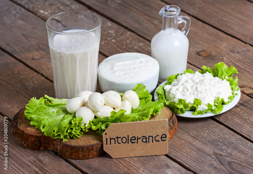 Aluminium Prints Dairy products milk, yogurt, mozzarella and cheese with background - lactose intolerance food