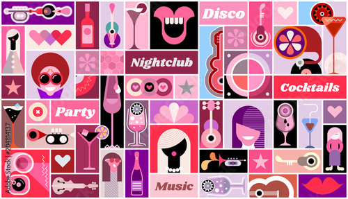 In de dag Abstractie Art Disco Party vector illustration