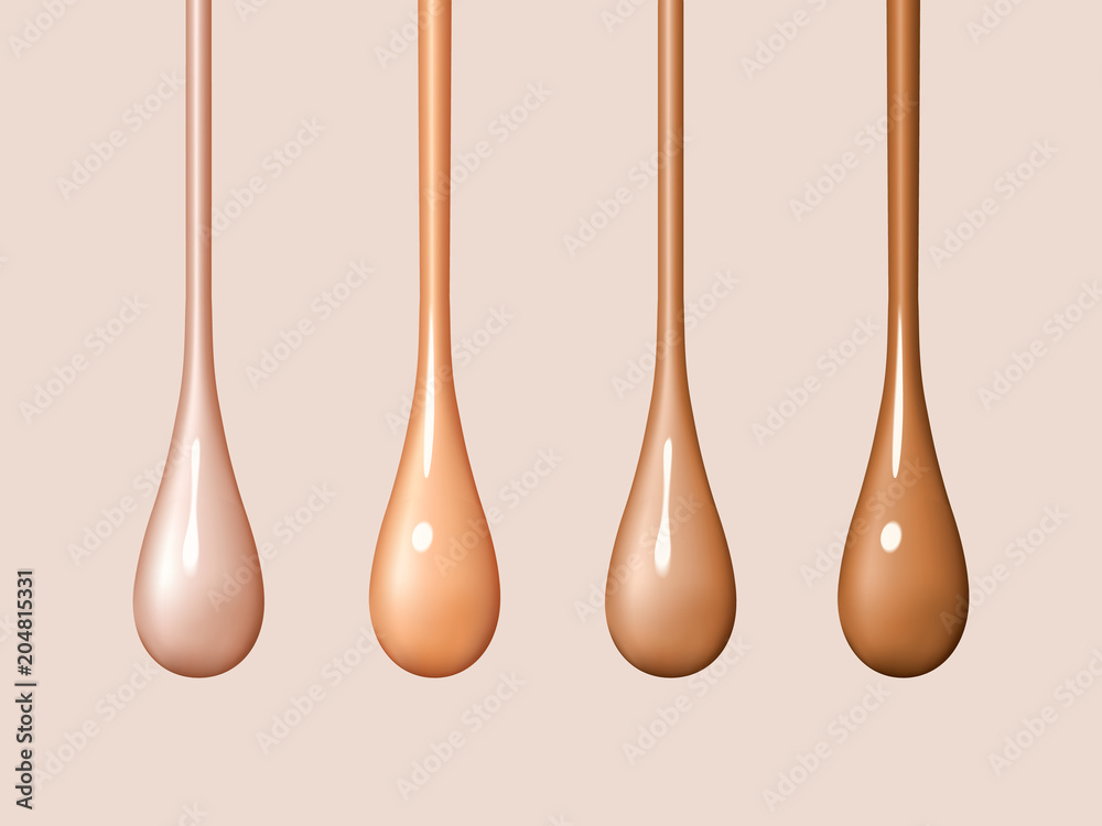 Fototapeta Liquid foundation drops isolated on background. Streams of drops flow. Creamy texture of droplets. Design elements of advertising of cosmetics. Vector realistic 3d illustration.