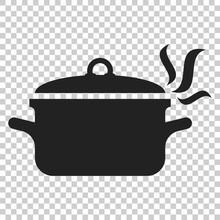 Cooking Pan Icon In Flat Style...