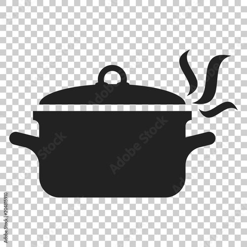 Foto Cooking pan icon in flat style