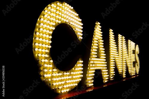 Obraz na plátně Cannes written with light bulbs