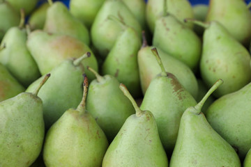 Ripe pears background.