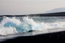 Crystal Clear Iceberg On Black...