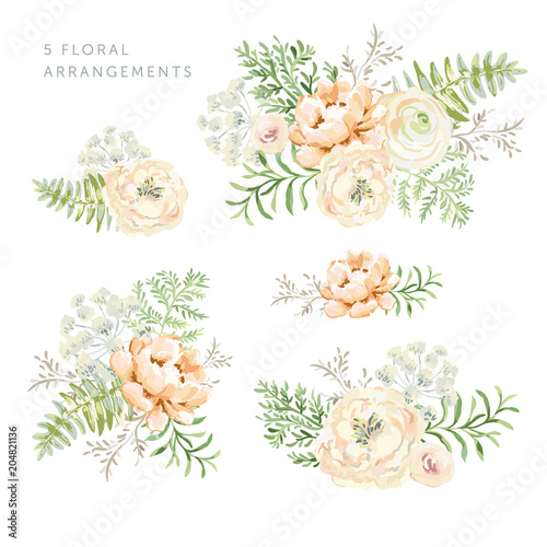 Valokuva  Set of the floral arrangements