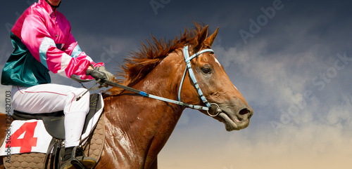Fotografía Jokey on a thoroughbred horse runs isolated on color background
