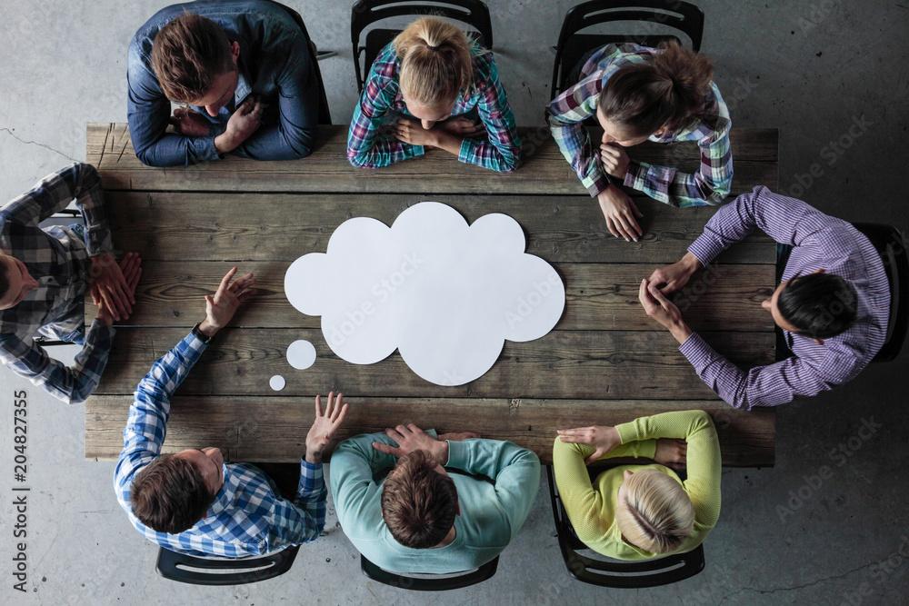 Fototapeta Business opinion dialog cloud